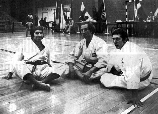 Great Britain Kata Team, European Championships 1975. From left to right, Andy Sherry, Terry O'niell and Dave Hazard.